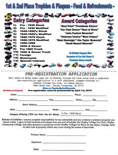 Chaffey College Car Club - Car show award categories